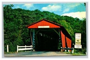 Vintage 1950's Postcard Everett Road Covered Bridge Boston Township Ohio