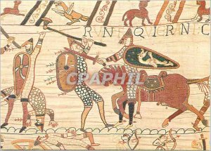 Modern Postcard Bayeux Tapestry Fighting between Cavalier Norman and Saxon Fo...