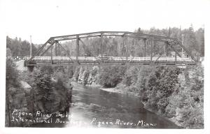 Grand Portage MN Cloud Bay ON Single Span Truss Bridge~Pigeon River~RPPC c1950