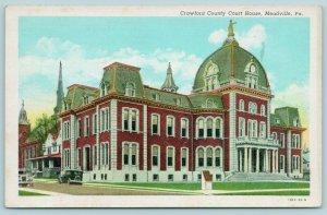 Meadville Pennsylvania~Crawford County Court House b1867~1930 Postcard
