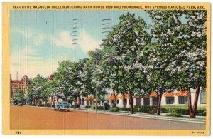 100220 MAGNOLIA TREES BATH HOUSE ROW HOT SPRINGS NATIONAL PARK AR POSTCARD 1949
