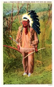 Cherokee Indian with Bow and Arrow   , Primitive Hunter