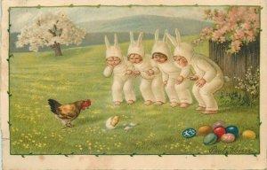 Pauli Ebner artist signed Easter lovely girls rabbit costumes hen chick eggs