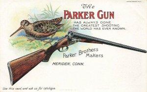 Meriden CT The Parker Gun Arms Rifles RARE Advertising Postcard