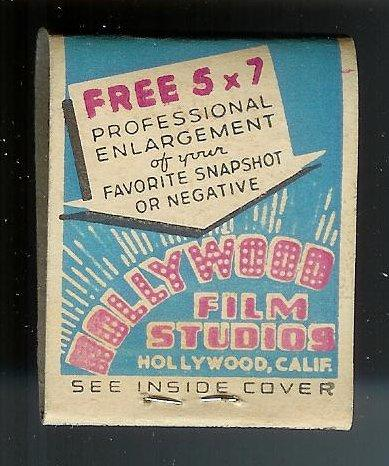 HOLLYWOOD FILM STUDIO 1940's Full Unstruck Matchbook