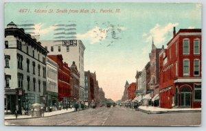 Peoria Illinois~Adams Street~Umbrella Over Food Vendor Stand~Bergner's~1912