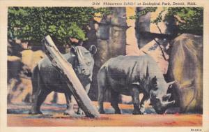 DETROIT, Michigan, 1930-1940's; Rhinoceros Exhibit At Zoological Park