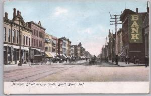 South Bend, Ind., Michigan Street Looking South, Bicycles, Wagons & Trolley