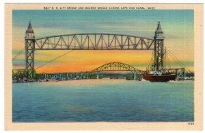 R. R. Lift Bridge and Bourne Bridge Across Cape Cod Canal, Mass