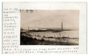 1909 RPPC Sergeant Floyd Monument, Sioux City, IA Real Photo Postcard *1609H