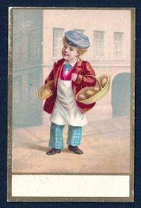 VICTORIAN TRADE CARD Boy Carrying Bread