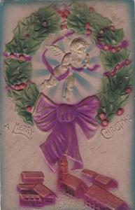 CHRISTMAS; Embossed, A Merry Christmas, Angel flying over town with purple ri...