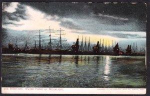 MA – Boston waterfront by moonlight UB card