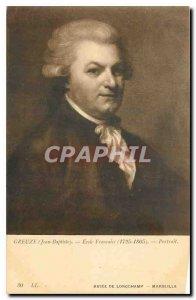 Postcard Old Greuze Jean Bapriste French School Portrait Museum of Longchamp ...