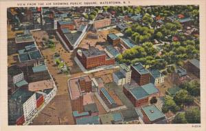 New York Watertown Aerial View Showing Public Square