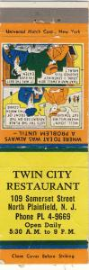 No Plainfield, New Jersey/NJ Matchcover,Twin City Restaurant