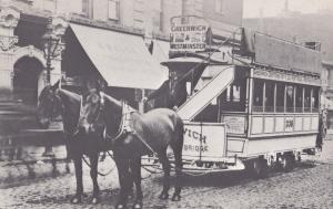 Greenwich & Westminster Bus Horse Driven Tram Postcard