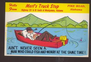 PIKE ROAD ALABAMA MERL'S TRUCK STOP FISHING COMIC ADVERTISING OLD POSTCARD