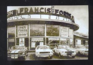 REAL PHOTO FRANCIS FORD CAR DEALER ADVERTISING POSTCARD 1965 MUSTANG CARS