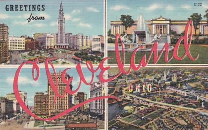 Ohio Greetings From Cleveland 1942 Curteich