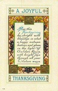 A Joyful Thanksgiving Embossed Postcard