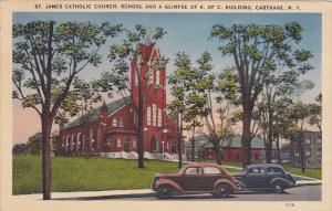 St. James Catholic Church, School And A Glimpse Of K. Of C. Building, Carthag...