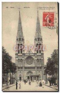 Postcard Old Paris Belleville St. John the Baptist Church