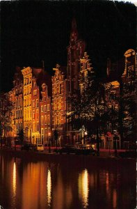 Netherlands Night view River Vintage Cars Street Lamps Postcard