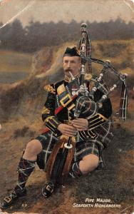 Scotland, UK Old Vintage Antique Post Card Pipe Major Seaforth Highlanders 19...