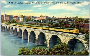 1940s Minneapolis MN Postcard Streamliner Train Miss. River Stone Bridge c1940s