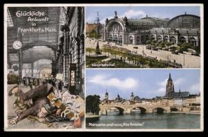 Germany 1936 Frankfurt Main Hauptbahnhof Bridge Humor Postcard 90516