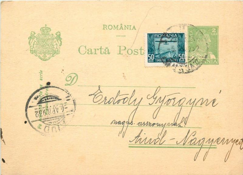 King Carol II 2 LEI uprated postal stationery 1931 Romania via Aiud Nagyenyed
