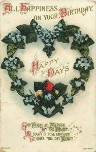 Postcard Greetings flowers birthday happy