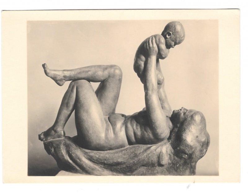 RPPC Sculpture Josef Mullner Mutter und Kind Wien Austria Kuhne 4X6 Art Postcard