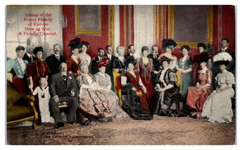 1910s Group of the Royal Family of Europe Now at War, A Family Quarrel Postcard