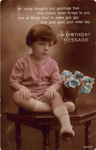 A Birthday Message Flowers in Basket Little Girl Postcard