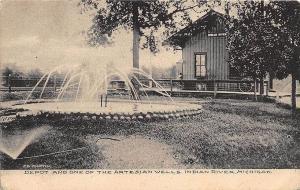 Indian River MI Artesian Well Railroad Station Train Depot Postcard