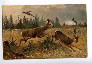 182908 Hunting for deer by MULLER mushroom Amanita Vintage
