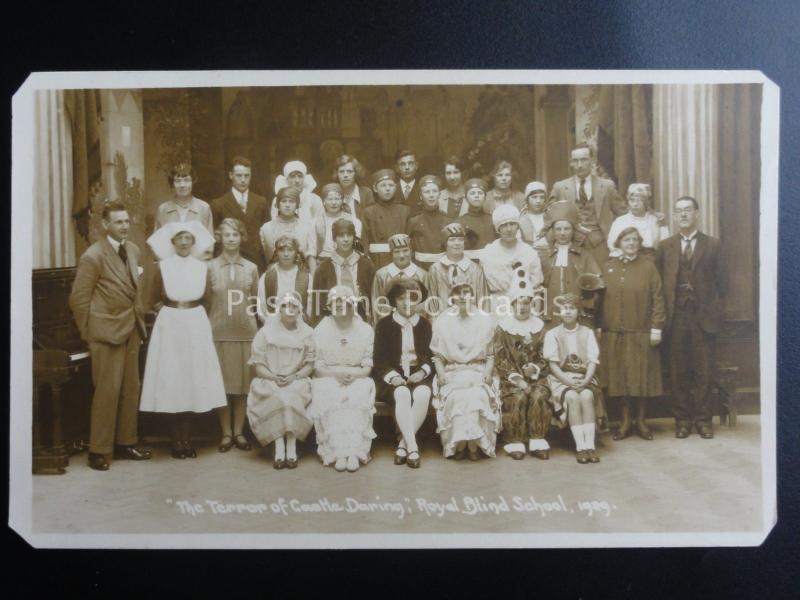 THE ROYAL BLIND SCHOOL Perform THE TERROR OF CASTLE DARING c1929 RP Postcard