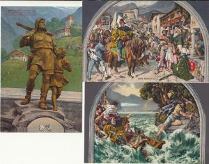 Swiss heroe Wilhelm Tell legend vintage postcards set