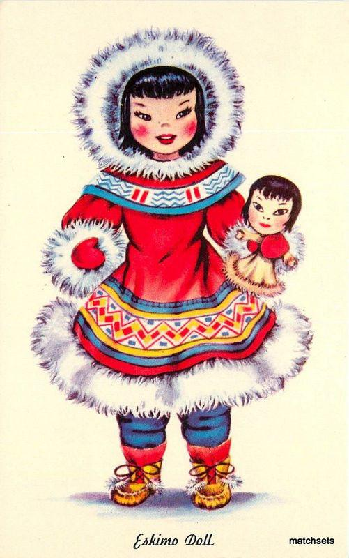 ALASKA Beautiful Eskimo Doll Tichnor postcard 538