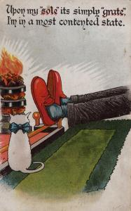 Sole Of Shoe White Cat Antique Sock Feet Humour WW1 Old Postcard