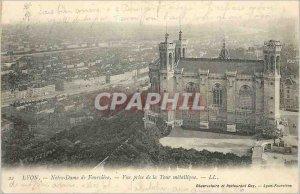 Postcard Old Lyon Notre Dame de Fourviere view Taking the Tour Metallique