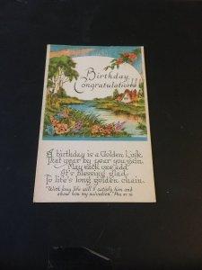 Vintage  Postcard - Birthday Congratulations