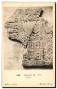 Old Postcard Chasse Aux Lions Assyria Louvre Museum Paris