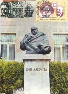 Postcard Romania RPR Cluj Emil Racovita statue