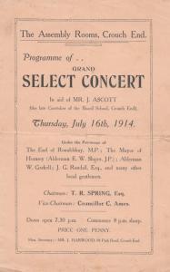 Crouch End Hornsey School Caretaker Funeral Comedy WW1 London Theatre Programme