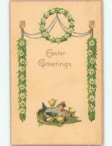 Divided-Back EASTER CHICK SCENE Cute Postcard AA1037