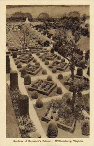 Virginia Williamsburg The Gardens Governors Palace Albertype