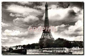 Modern Postcard Paris Eiffel Tower Walk In Bateau Mouche